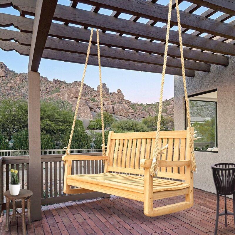 Rosecliff Heights Hazen San Juan Double Outdoor Teak Porch Swing