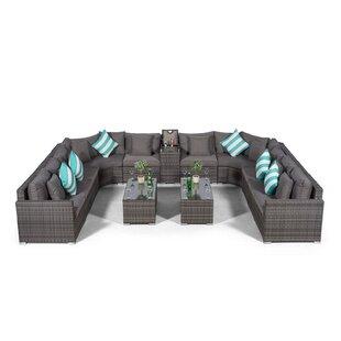 Villasenor Grey Rattan U Shape 10 Seat Sofa With 2 X Rectangle Coffee Table + Drinks Cooler, Outdoor Patio Garden Furniture Image