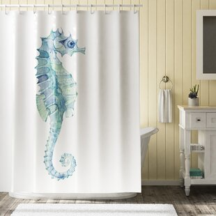 Best Roxanna Painbrush Photo Seahorse Shower Curtain ByHighland Dunes