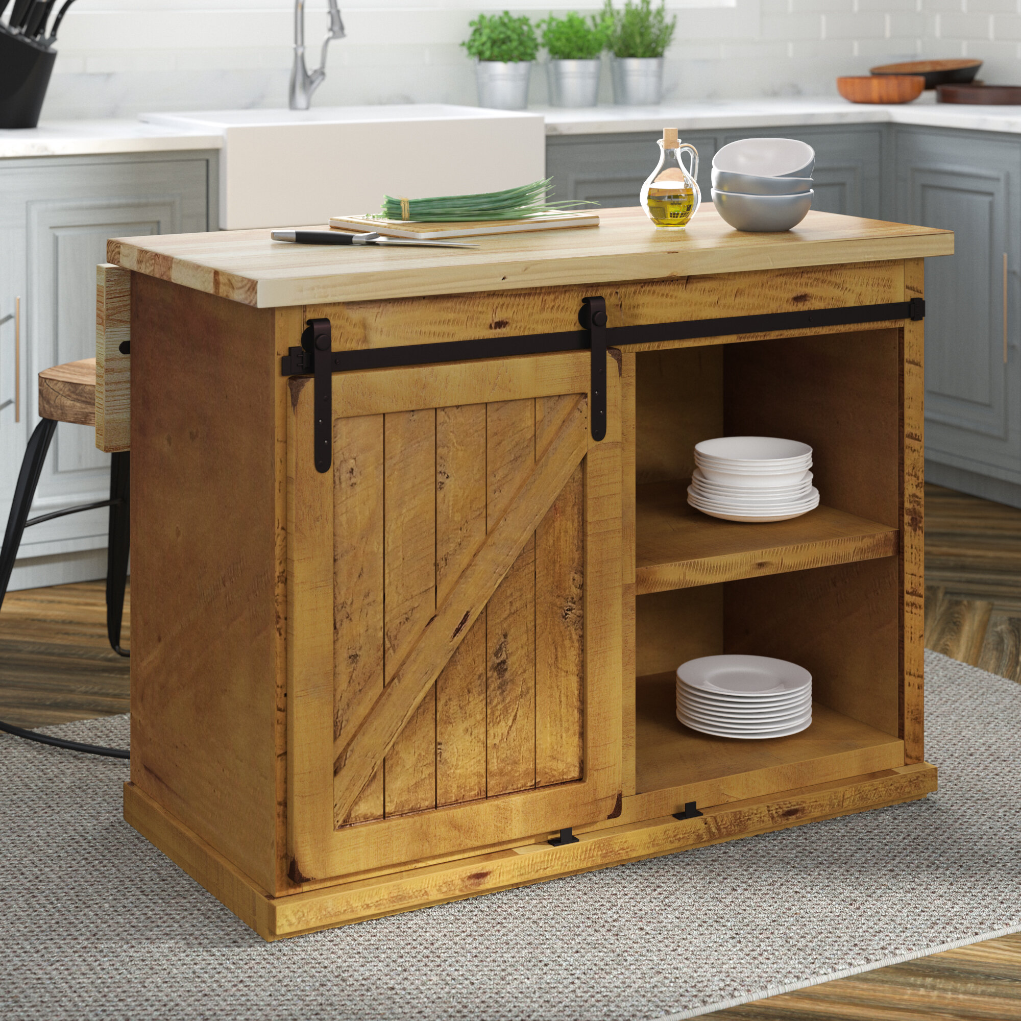 Gracie Oaks Uli Kitchen Island With Butcher Block Top Reviews Wayfair