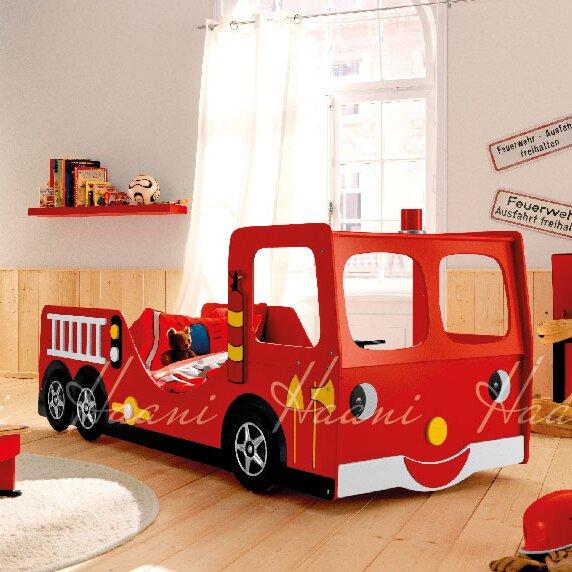 Fire Engine Kids Single Car Bed
