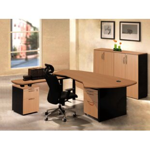 Executive Management 5 Piece L-Shaped Desk Office Suite by OfisELITE Modern