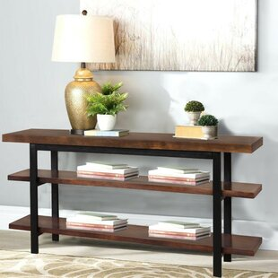 Gerardo Mango Wood and Iron Console Table by 17 Stories
