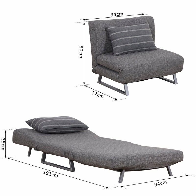 Homcom Convertible Lounge Couch 2 Seater Futon Chair