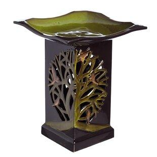 Evergreen Flag & Garden Tree of Life Lighted Birdbath with Pedestal