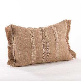 Tela Ruvida Jute Lumbar Pillow by Saro Best Design