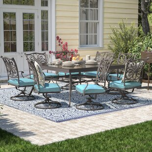 Three Posts Lauritsen 9 Piece Square Oil Rubbed Bronze Dining Set with Cushions