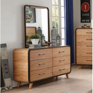 Gipson 6 Drawer Double Dresser with Mirror