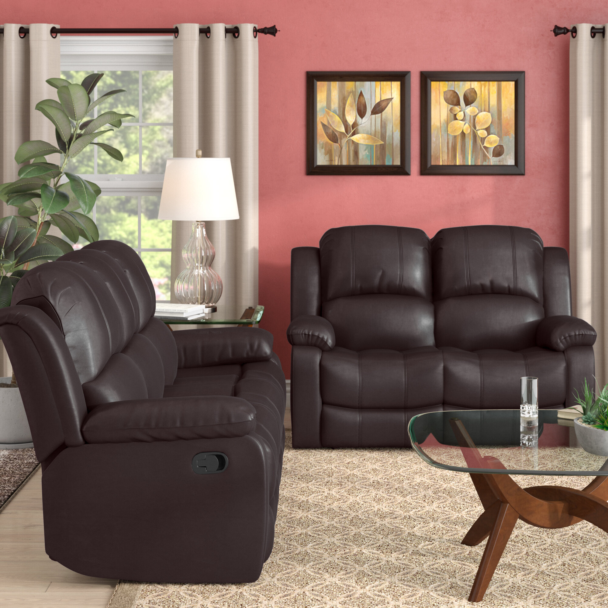 recliners leather chocolate furniture pcs reclining beige short bonded room com recliner ac plush loveseat amazon dp living motion sofa gtu set livings