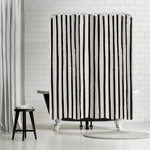 East Urban Home Leah Flores Vertical Black And White Watercolor Stripes Shower Curtain