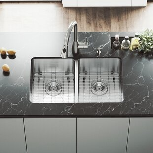 VIGO 29 inch Undermount 50/50 Double Bowl 16 Gauge Stainless Steel Kitchen Sink with Aylesbury Stainless Steel Faucet, Two Grids, Two Strainers and Soap Dispenser