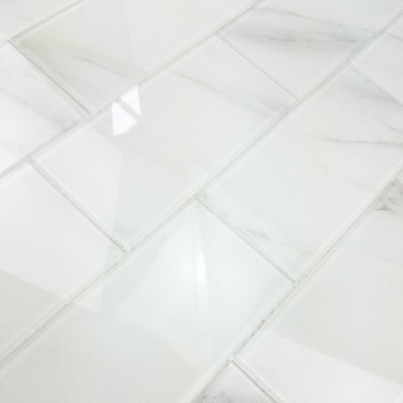 Nature Wall Backsplash Straight Edge 4 X 8 Gl Subway Tile In Calacatta White