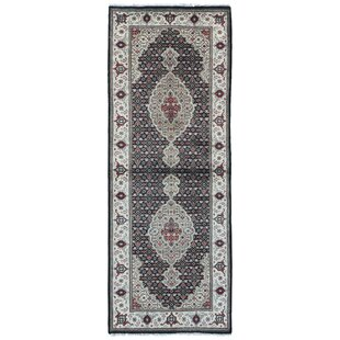 Order One-of-a-Kind Joanna Oriental Hand-Knotted Black Area Rug By Isabelline
