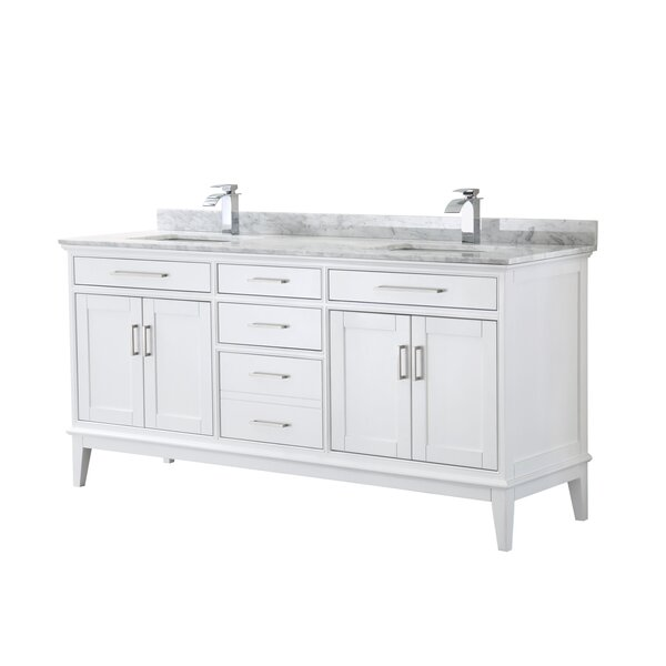 Margate 72 Inch Double Bathroom Vanity In Dark Grey White Carrara Marble Countertop Undermount Square Sinks And No Mirror