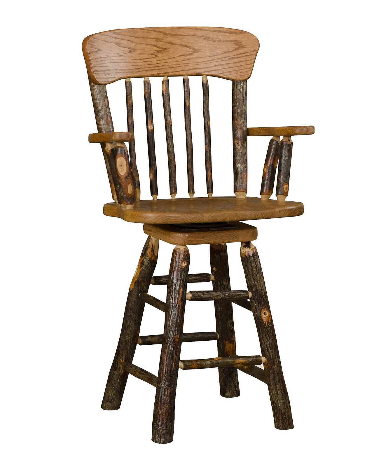 Millwood Pines Tulare 24 Swivel Panel Back Bar Stool With Arms Wayfair