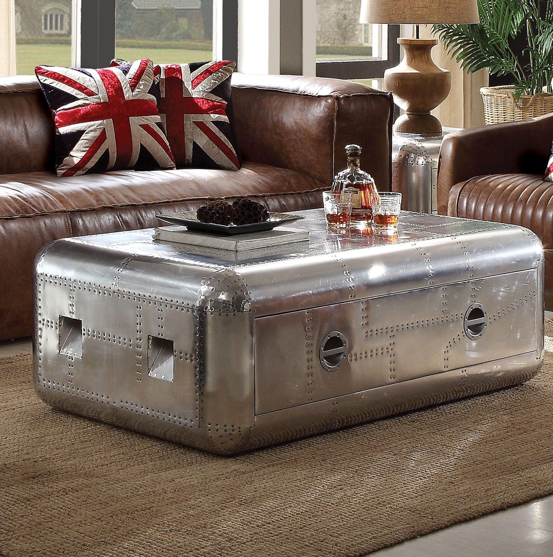- 17 Stories Lottie Trunk Aluminum Coffee Table With Storage Wayfair