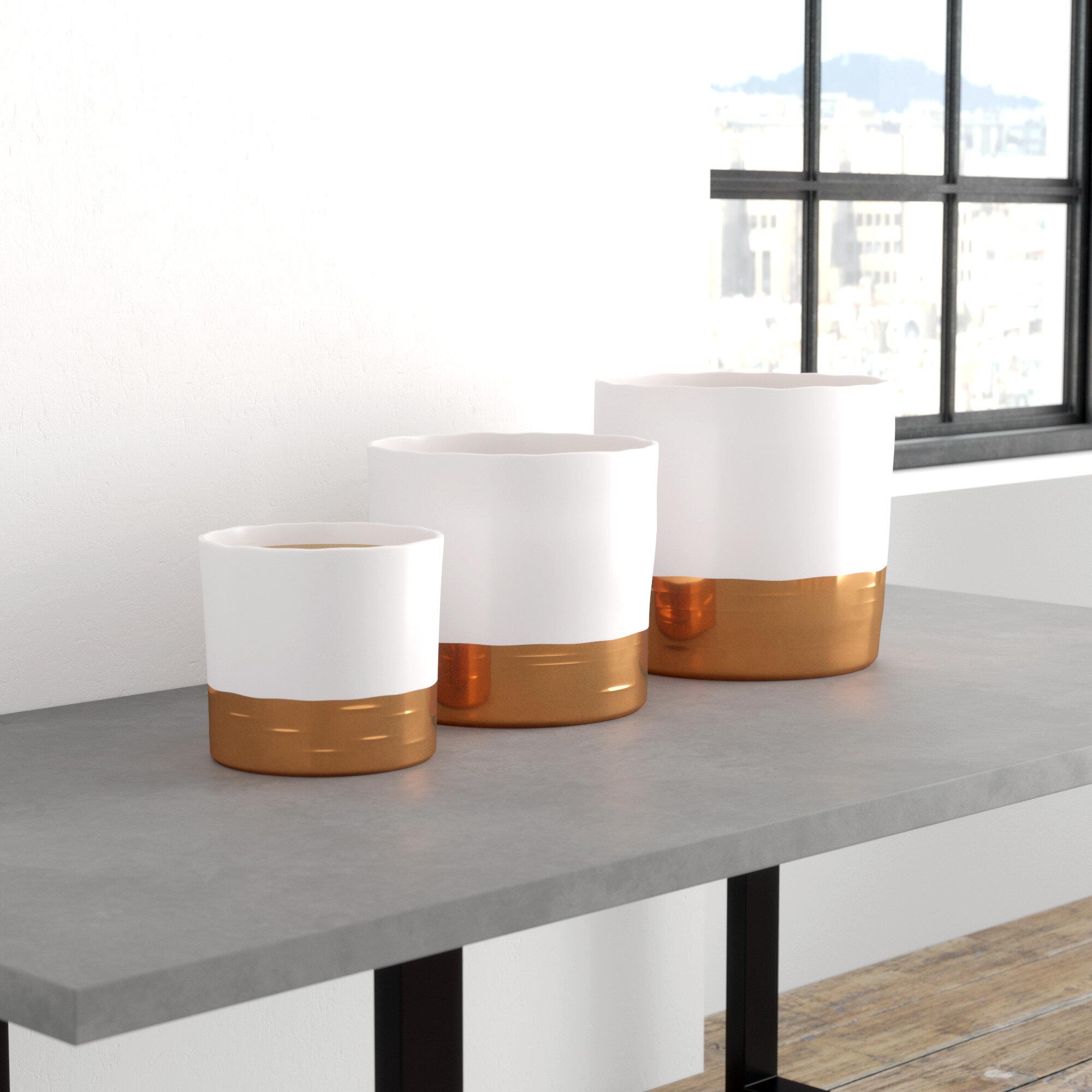 Mercury Row Hanover Round 3 Piece Ceramic Pot Planter Set Reviews Wayfair