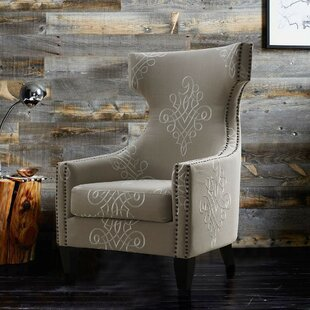 Copple Embroidered Linen Wingback Chair by Darby Home Co