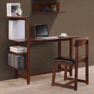Washington 47 Writing Desk with Side Shelf and Chair by International Caravan