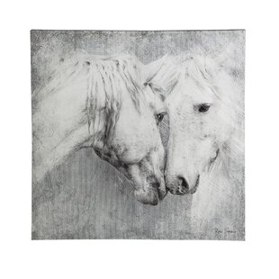 Meeting Horses Framed Painting Print On Canvas