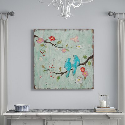 "Lark Manor 'Love Birds I' Painting Print on Canvas Size: 18"" H x 18"" W x 0.75"" D"