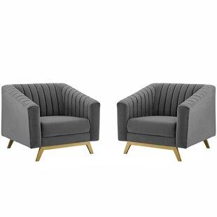 Dandridge Vertical Channel Performance Velvet Armchair Set of 2