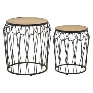 Pulley Metal / Wood 2 Piece Nesting Tables