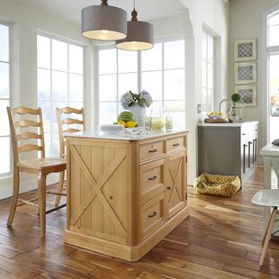 Dacian Country Kitchen Island Set Rosalind Wheeler