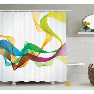 Price comparison Wavy Ribbon Rainbow Print Shower Curtain ByEast Urban Home