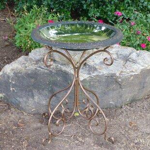 Tierra Garden Gold Accent Gloss Birdbath