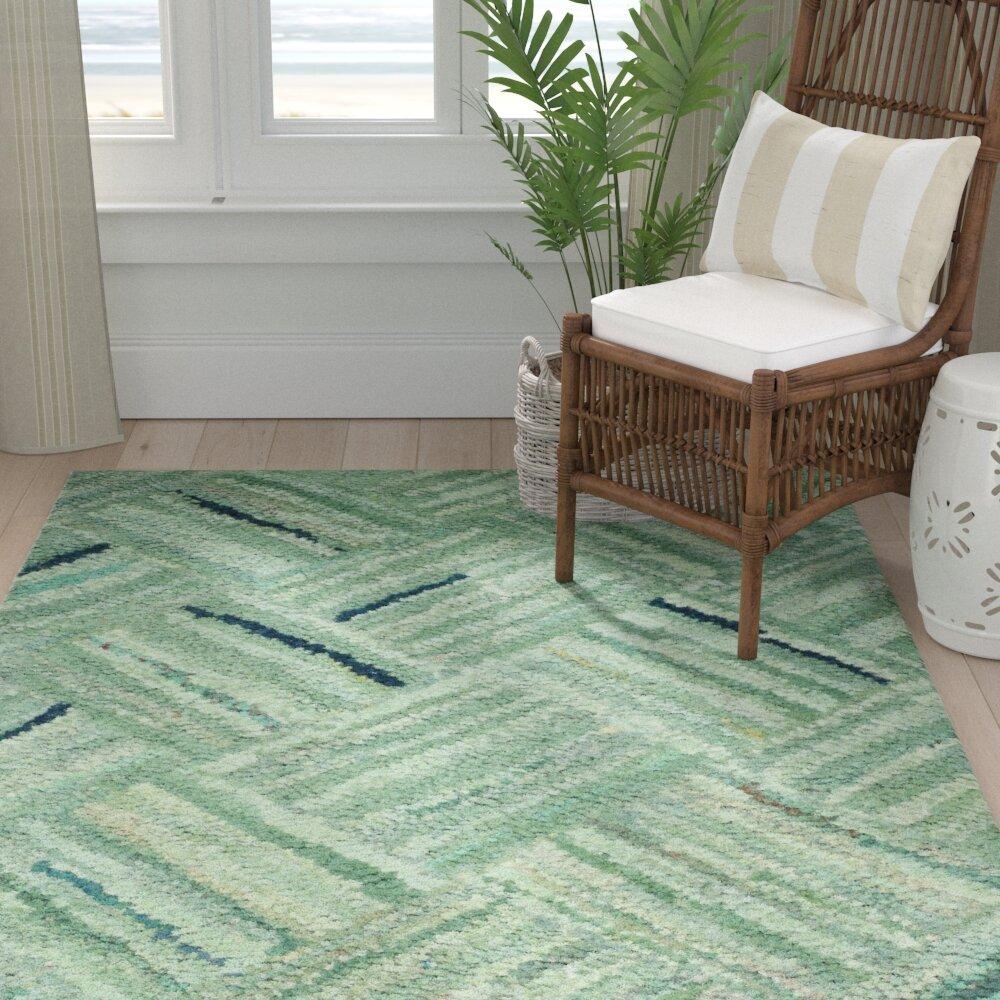 Bay Isle Home Millia Hand Tufted Cotton Green Area Rug Reviews Wayfair