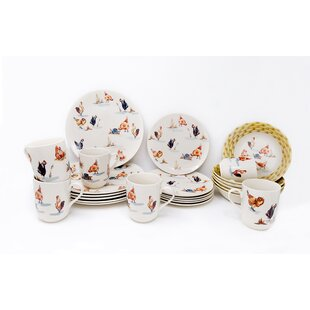 Country Farmyard 24 Piece Dinnerware Set, Service for 6
