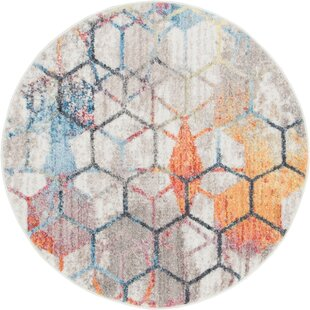 Baxter Prism Gray/Orange Area Rug by Wrought Studio
