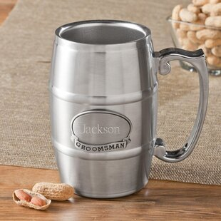 Groomsman Tankard with Pewter Medallion 16 oz. Stainless Steel Mug