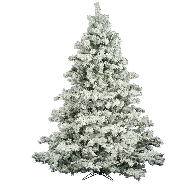The Holiday Aisle Flocked Alaskan 6.5' White Pine Artificial ...