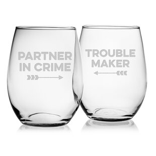 Partner in Crime 2-Piece 21 oz. Stemmed Wine Glass Set