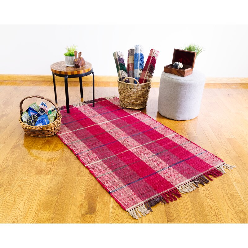 Breakwater Bay Wine Plaid Hand Knotted Cotton Area Rug Wayfair