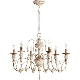 White shabby chic chandelier wayfair paladino 6 light candle style chandelier mozeypictures Image collections