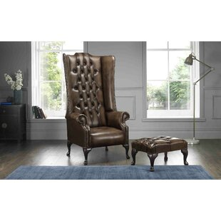 Colucci High Back Wing Chesterfield Chair And Footstool By Astoria Grand