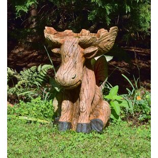Plow & Hearth Resin Moose Birdbath
