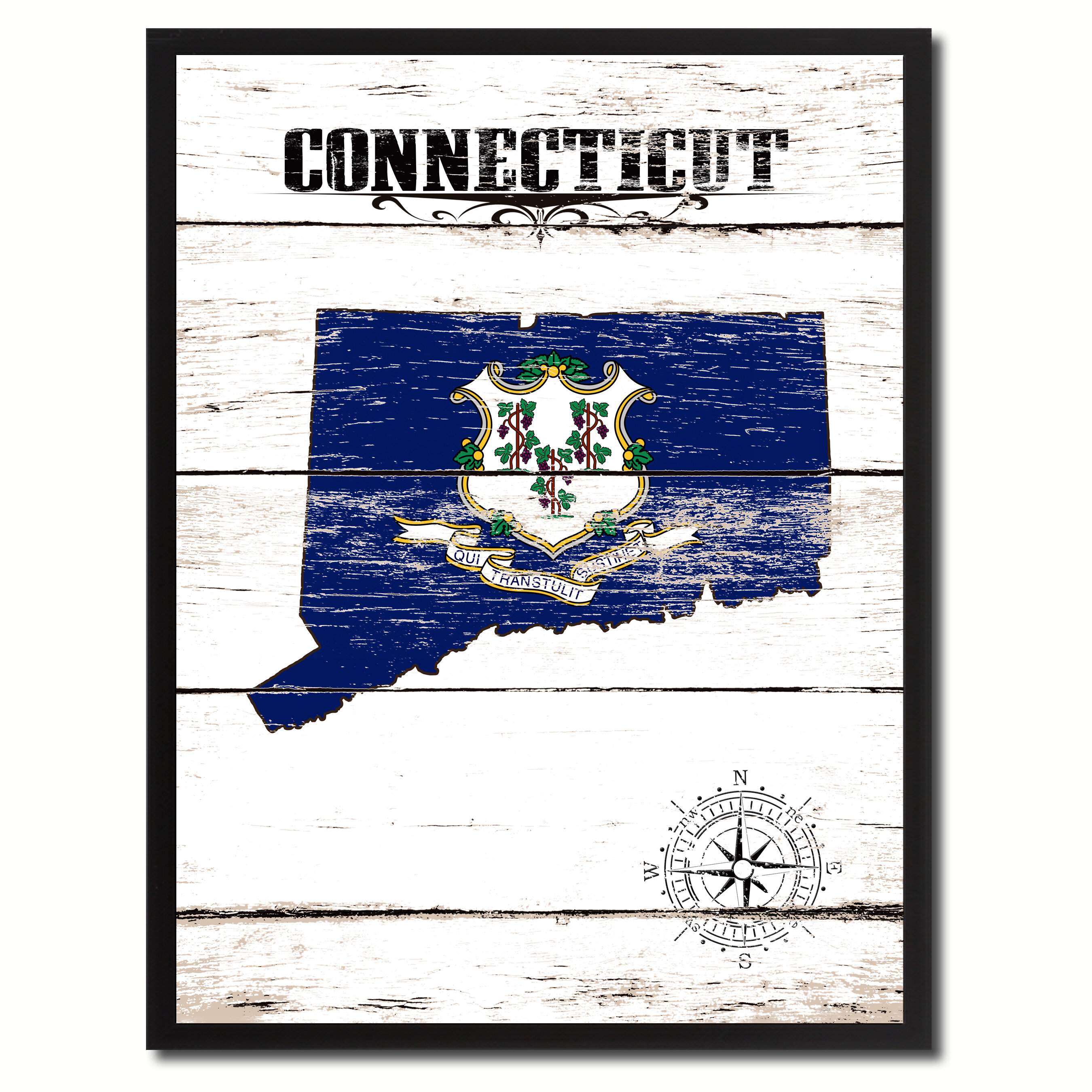 Wrought Studio Connecticut State Vintage Flag Picture Frame Graphic Art On Canvas Wayfair