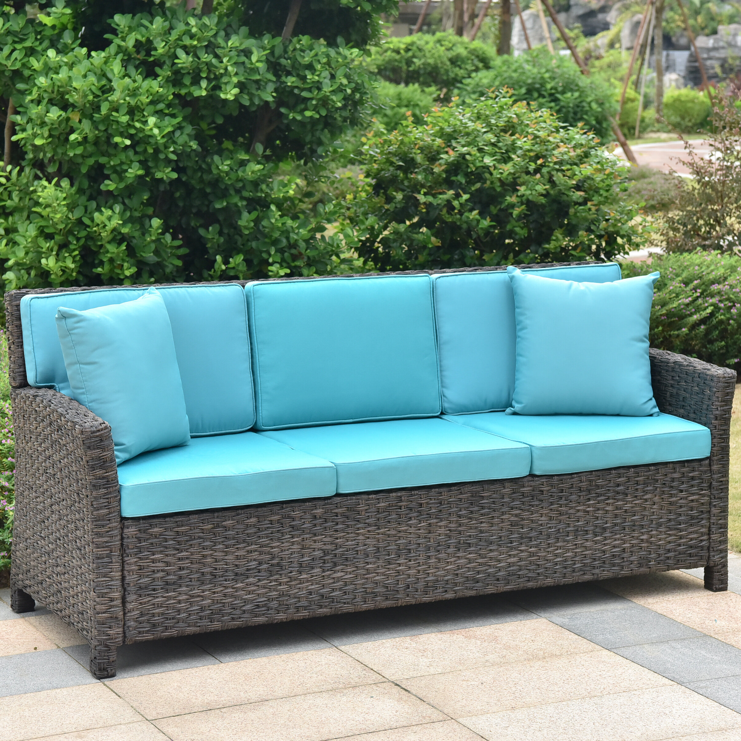 Attirant Red Barrel Studio Deanna Resin Wicker Patio Sofa With Cushions U0026 Reviews |  Wayfair