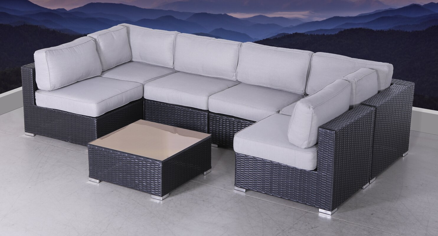 Latitude Run Bannerman 7 Piece Sectional Seating Group with Cushions