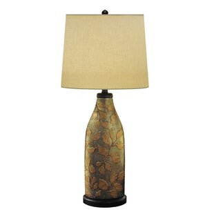 Best Reviews Exotic Leaf Hand Painted Porcelain 33 Table Lamp By JB Hirsch Home Decor
