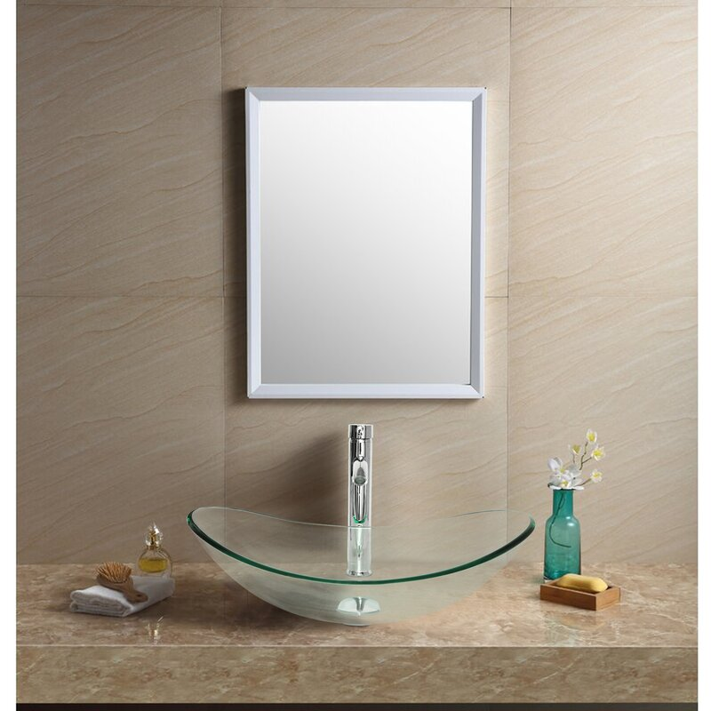 Flanna Tall Transparent Glass Oval Console Bathroom Sink With Faucet