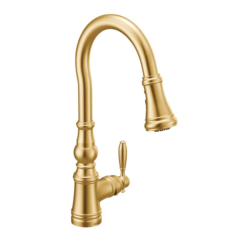 moen weymouth one handle pull down single handle kitchen faucet with rh wayfair com install one handle kitchen faucet one handle kitchen faucet leaking