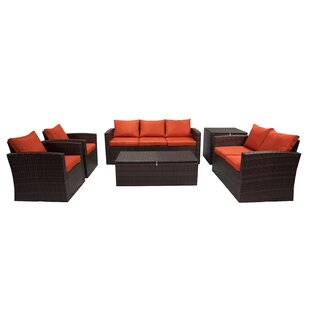 Marisa 6 Piece Rattan Sofa Seating Group by Longshore Tides