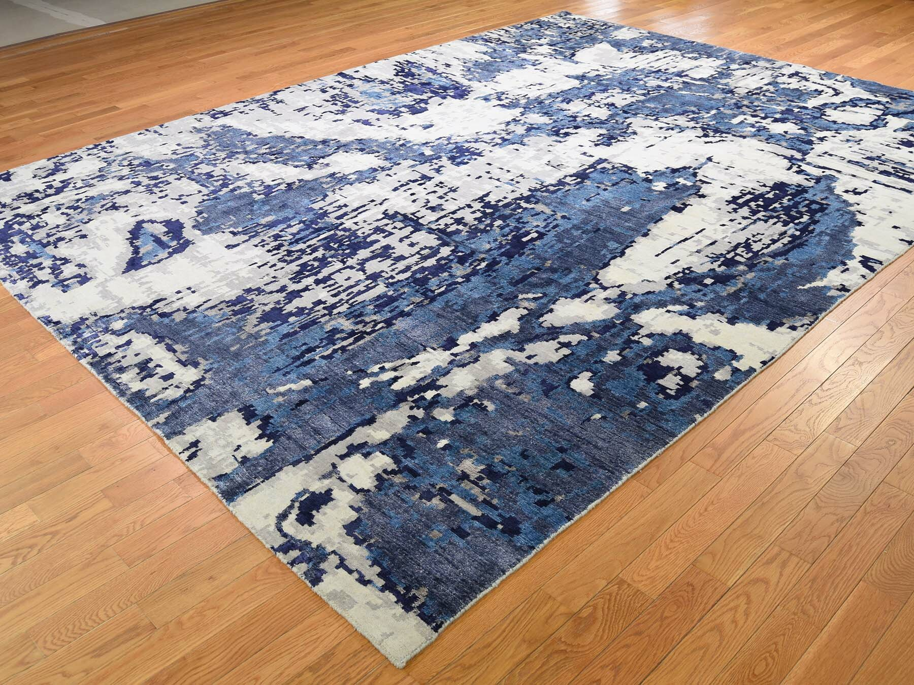 Picture of: World Menagerie One Of A Kind Evert Hand Knotted Blue 9 X 12 Area Rug Wayfair