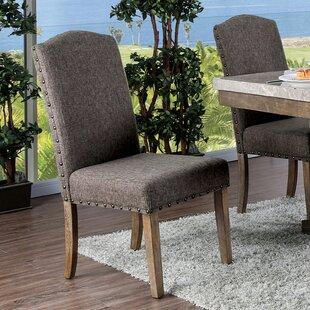 Bentley Upholstered Side Chair in Brown Set of 2 by Rosalind Wheeler