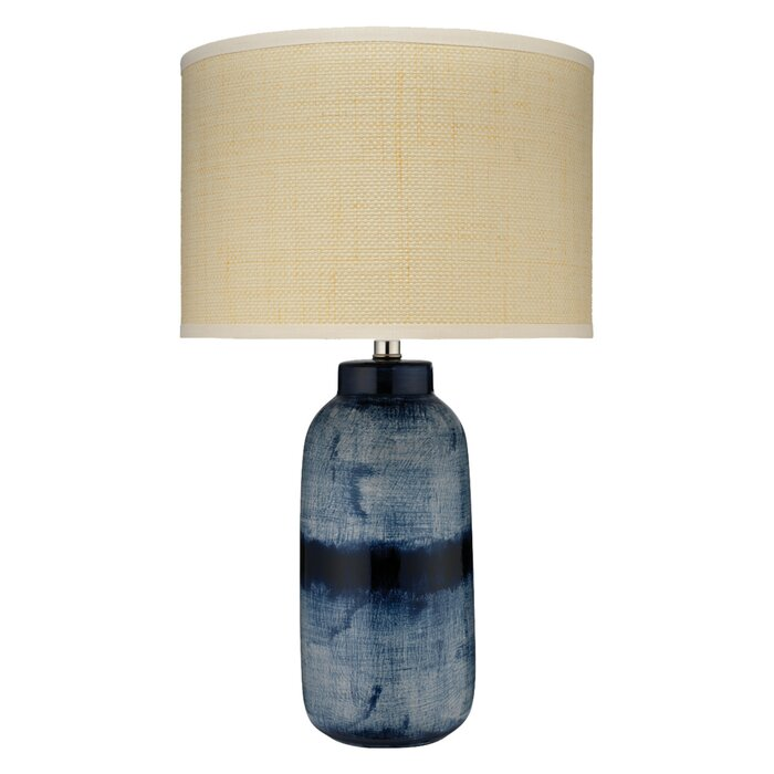 Large Batik Table Lamp In Indigo Ceramic With Medium Drum Shade Raffia